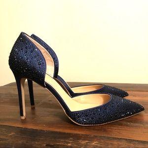 Badgely Mischka + Alexandra Navy Crystal Heels